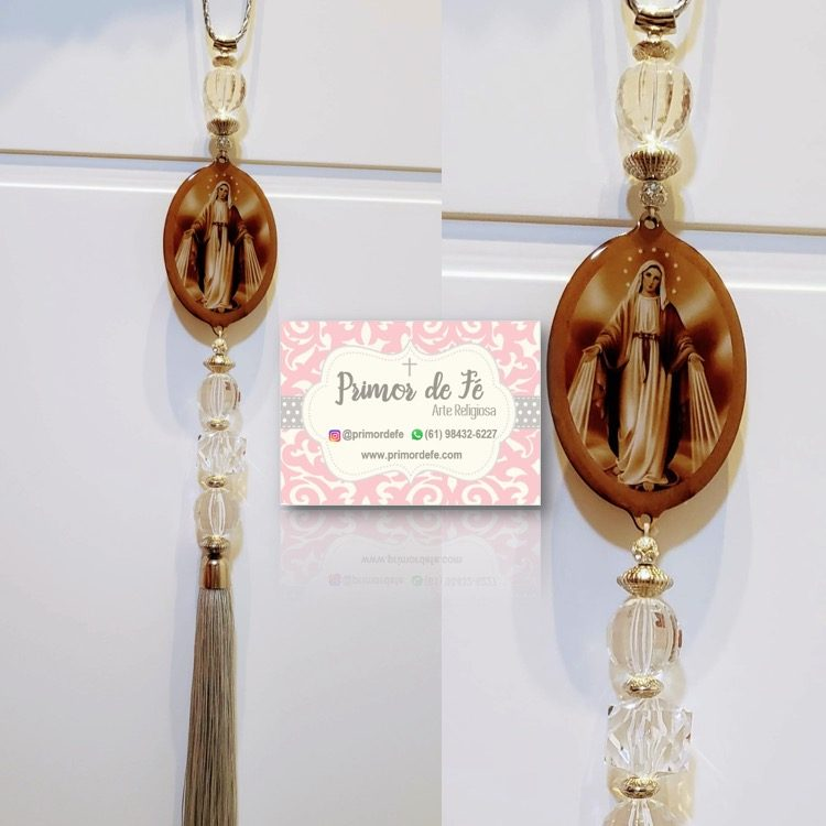 Pingente de Porta: Nossa Senhora das Graças - Madeira Prata