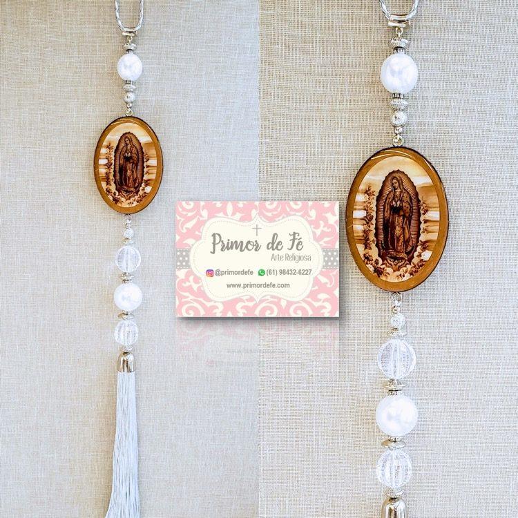 Pingente de Porta: Nossa Senhora Guadalupe - Madeira Prata