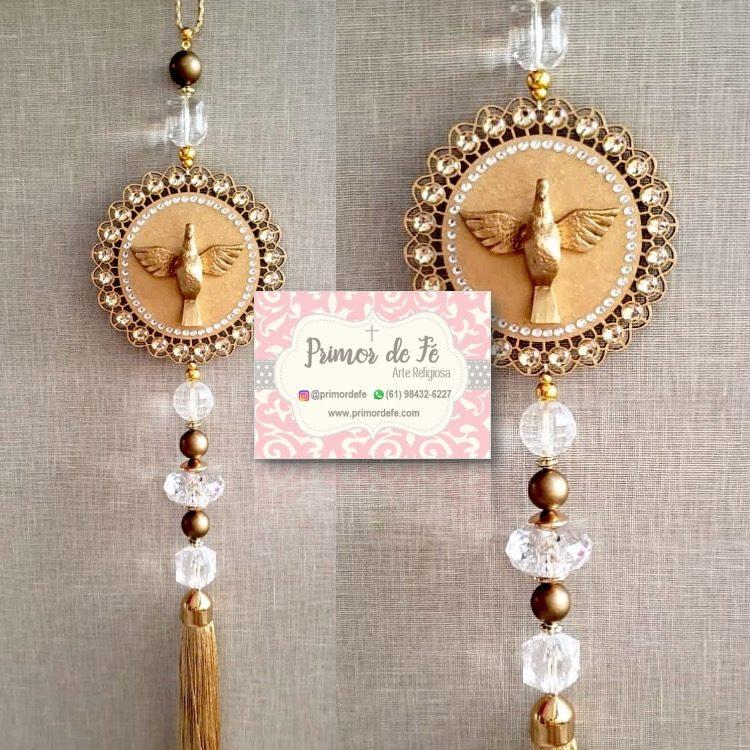 Pingente de Porta: Divino Espírito Santo - Flor Dourada