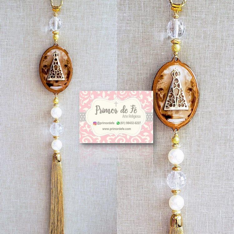 Pingente de Porta: Nossa Senhora Aparecida - Madeira Dourado